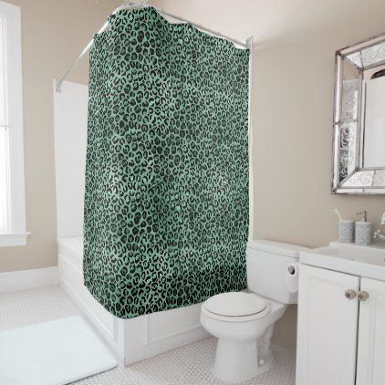 Girly Emerald Green Glam Leopard Print Shower Curtain Zazzle Com In 2020 Green Shower Curtains Custom Shower Curtains Curtains