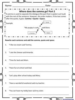 How to Use Dialogue in Writing Worksheet Packet (Easy Step ...
