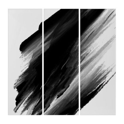 Black Color Paint Brush Background Triptych Zazzle Com In 2020 Brush Background Triptych Painting