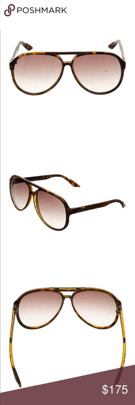 0c8e7142cfd Authentic Gucci sunglasses Brown and tan acetate Gucci aviator sunglasses  with web trim and gradient lenses. Includes case and dust bag. surface  scratches ...