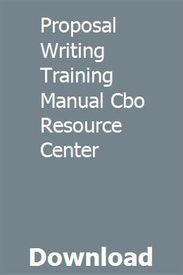 Proposal Writing Training Manual Cbo Resource Center With Images
