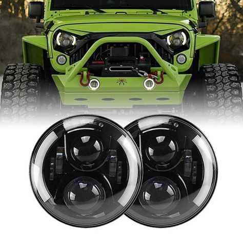 7 Inch 100w Led Headlights With White White Halo Angel Eyes For 1997 2020 Jeep Wrangler Jk Tj Lj Jl Gladiator Jt Jeep Wrangler Jeep Wrangler