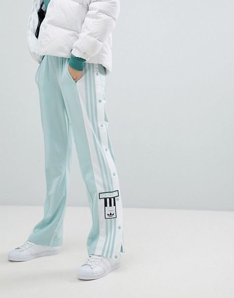 adidas Originals adicolor Popper Pants In Mint | Kleding
