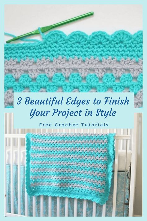 Good Cost-Free Crochet afghan borders Suggestions Learn how to crochet 3 different beautiful crochet edges for blankets, baby blankets, scarves, shaw Crochet Picot Edging, Crochet Baby Blanket Borders, Crochet Border Patterns, Crochet Boarders, Crochet Shell Stitch, Freeform Crochet, Easy Crochet, Crochet Stitches, Crochet Edges For Blankets
