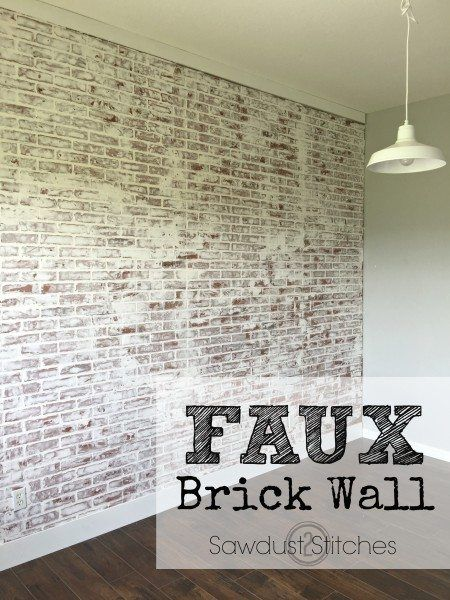 How to: Faux Brick Wall - Sawdust 2 StitchesYou can find Brick walls and more on our website.How to: Faux Brick Wall - Sawdust 2 Stitches Faux Brick Wall Panels, Brick Wall Paneling, Faux Walls, Brick Accent Walls, Textured Walls, Fake Brick Walls, Faux Painted Walls, Paint Walls, Wood Walls