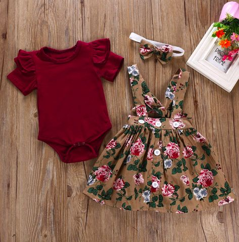 "Baby/Toddler Dress/Romper/Headband SetDress/Romper/HeadbandColor: ""Cranberry Floral"" Our clothing comes in a variety of sizes and styles, and is suitable for infants and toddlers alike. We choose clothing that is not only stylish and comfy, but is unique for your one-of-a-kind babe! If you're looking for a specific color or style that we don't have listed, send us a message and we'll see what we can do! Feel free to visit us on Instagram to stay up-to-date with the latest contests, giveaways, an Fashion Kids, Baby Girl Fashion, Fashion Outfits, Fashion Shirts, Fashion Trends, Fashion Games, Baby Fashion Clothes, Babies Fashion, Womens Fashion"