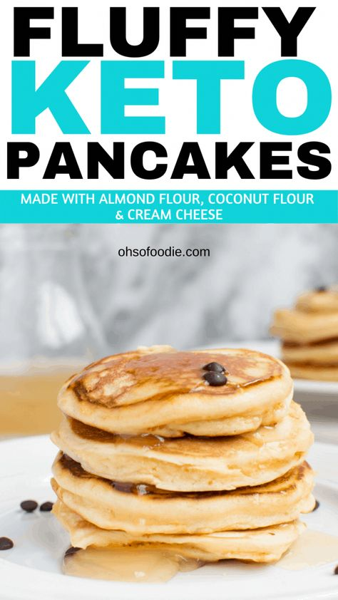 Sugar Free Fluffy Keto Pancakes made with almond flour, coconut flour and cream cheese with only 3.2g net carbs per serving! Super delicious keto breakfast pancakes that are made in minutes - an easy keto breakfast or keto snack! #ketobreakfast #ketopancakes #almondflourrecipes #coconutflourrecipes #lowcarbbreakfast #fluffypancakes
