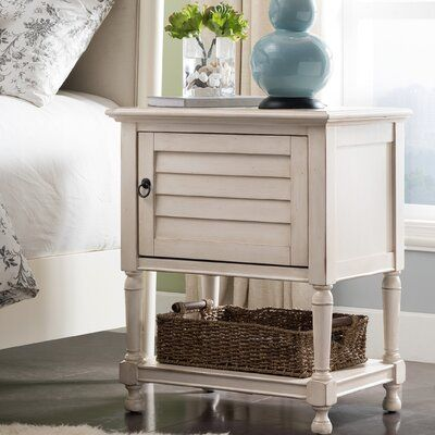 Canora Grey Louvred Door Night Stand Side Table Cabinet With Top Ac Usb Charging Colour Antique White In 2020 Nightstand Nautical Table Table