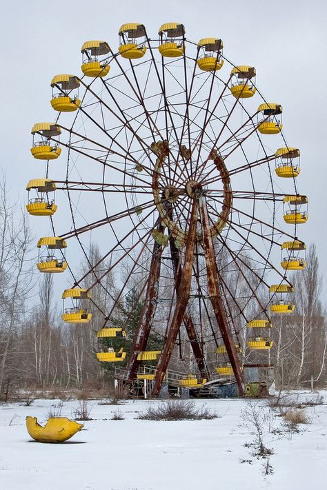 The park was to be opened on May 1, 1986, but the Chernobyl disaster happened on April 26. The park was opened only for a couple of hours next day before the evacuation of Pripyat.