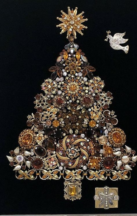 Framed Christmas Tree Art Made With Vintage Costume Jewelry - Framed Christmas Tree Art Made With Vintage Costume Jewelry image 1 - Christmas Tree Art, Jewelry Christmas Tree, Christmas Trees, Christmas Crafts, Jewelry Tags, Beaded Jewelry, Unique Jewelry, Jewelry Frames, Jewelry Ideas