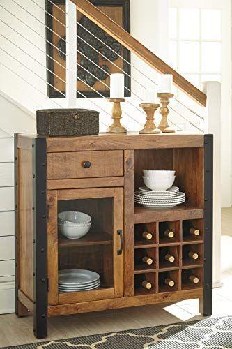 Furnituremaxx Glasco Casual Wood Warm Brown Wine Cabinet Armoire