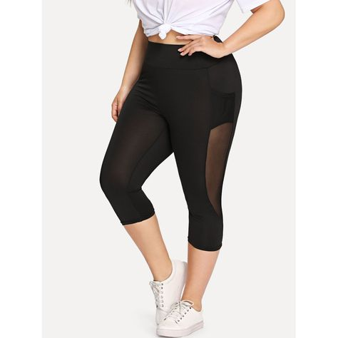 7921e86443ab4a Plus Sheer Mesh Panel Short Leggings | Anabella's | Plus Size | Mesh ...
