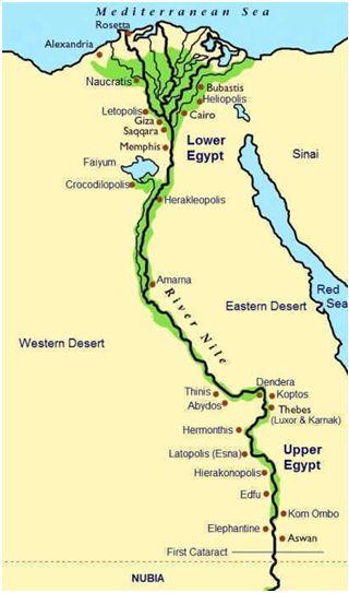 Mapa Del Rio Nilo Y Principales Ciudades Egipcias Egipto Egipto