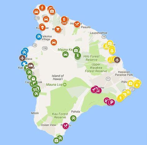 5 Days in the Big island of Hawaii sample itinerary - Map #HawaiiHoliday