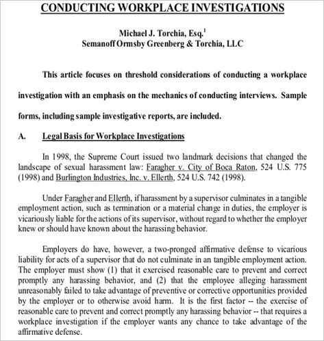 Workplace Investigation Report Template 1