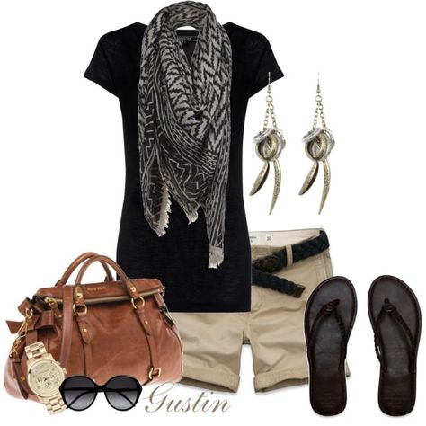 All My Love Verity cashmere mix tee in black; Abercrombie & Fitch Boulder Brook shorts; Lecco scarf; Chloé round-frame Acetate sunglasses; Abercrombie & Fitch classic flip flops; Miu Miu top handle bag; Asante spike earrings; Michael Kors chronography watch.