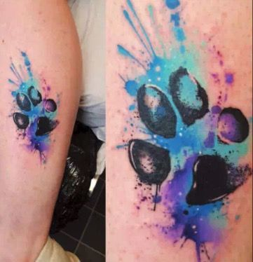 Paw Print Tattoo With Watercolor In 2020 Pawprint Tattoo Paw
