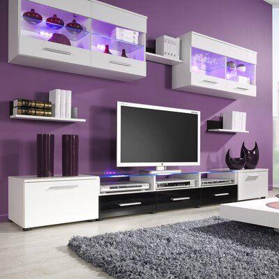 Orren Ellis Cerie Floating Entertainment Center for TVs up to 88 inches Color: White/Black Room Design Bedroom, Room Ideas Bedroom, Bedroom Decor, Design Room, Interior Design, Living Room Modern, Living Room Designs, Salons Violet, Purple Bedrooms