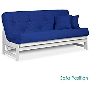 Arden White Finish Futon Set Full Or Queen Size Armless Wood Futon Frame With Mattress Included Twill Royal Blue More Mattress C Futon Sets Wood Futon Frame Futon Frame