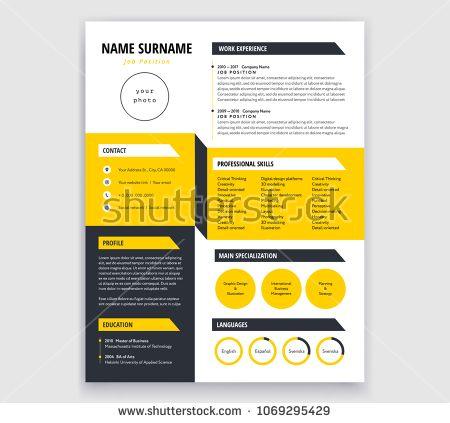 Creative Cv Resume Template Yellow And Black Design Sample
