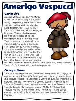 Explorer Amerigo Vespucci Reading Comprehension Worksheet