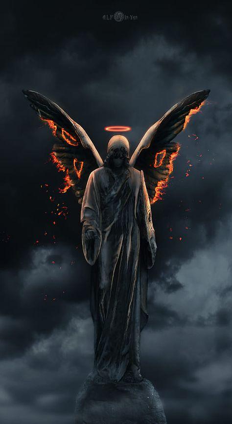 Angel from Hell : Angel from Hell Beautiful Dark Art, Demon Art, Angel Wallpaper, Grim Reaper Art, Angel Artwork, Angel, Dark Art Drawings, Archangel Tattoo, Heaven Tattoos