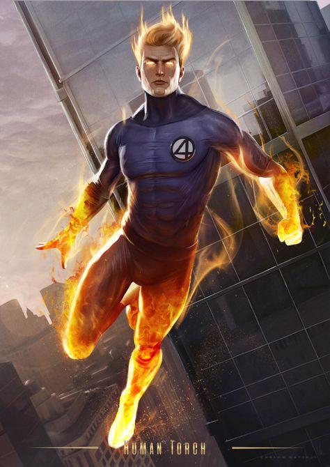Human Torch (Card on Behance Arte Dc Comics, Marvel Comics Art, Marvel Comic Books, Marvel Vs, Marvel Characters, Marvel Heroes, Storm Marvel, Marvel Universe, Fantastic Four Marvel
