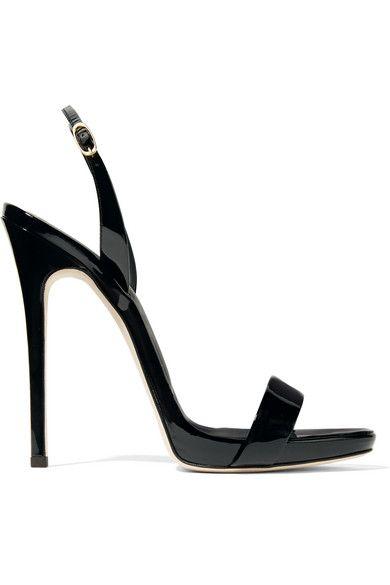 Black Sophie patent-leather slingback