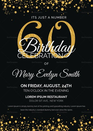 Black And Gold 60th Birthday Party Invitation Template 60th Birthday Party Invitations 60th Birthday Invitations Birthday Party Invitation Templates