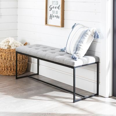 Tufted Gray Bench With Metal Base Upholstered Bench Furniture Modern Bench