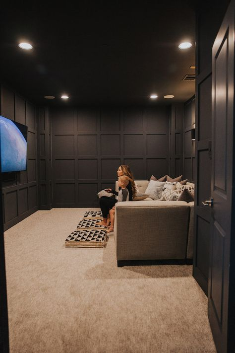 Our Dark Gray Home Theater Room with Wall Paneling Home Theater Room Design, Movie Theater Rooms, Home Cinema Room, Theater Room Decor, Movie Rooms, Cinema Room Small, Home Theater Wiring, Basement Movie Room, Home Theater Basement