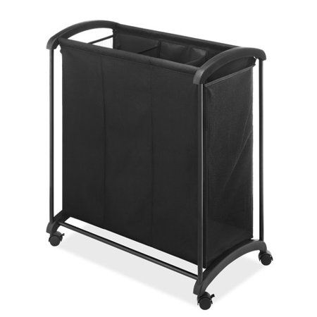 Whitmor 3 Section Laundry Sorter With Wheels Black 16 5 Inch X