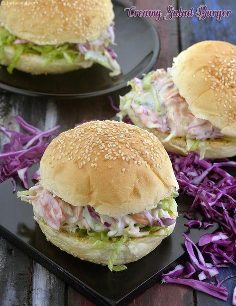Creamy Salad Burger Recipe Recipe Veg Burgers Recipe Indian Food Recipes Vegetarian Vegetable Burger