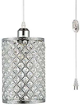Plug In Chandelier Lighting Hmvpl Modern Crystal Pendant Lights With On Off Dimmer Switch And 16 Pendant Light Fixtures Plug In Pendant Light Pendant Lighting