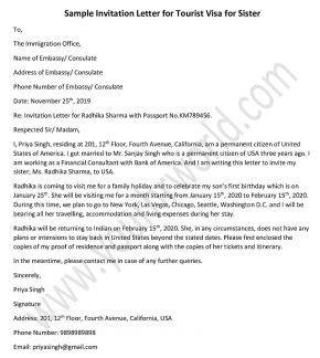 Invitation Letter Sample For Canada Visa