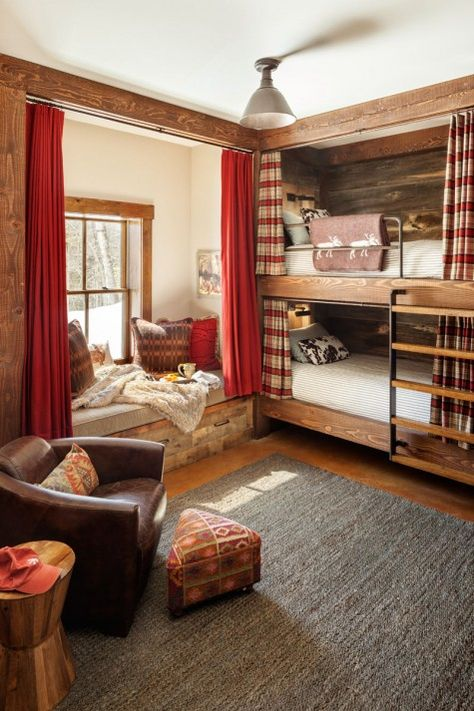 19 Warm And Beauty Bunk Beds With Wooden Wall Design 01 Cabin Homes, Home, Cabin Decor, House Design, Ski House Decor, House Interior, Cabin Living, Bunk Beds Built In, Cabin Interiors