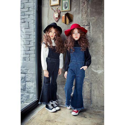 牛仔背带裤 2016秋款童装韩版童裤牛仔背带裤流苏女童中大童 阿里巴巴 Girl Outfits Fall Rompers Girl Fashion