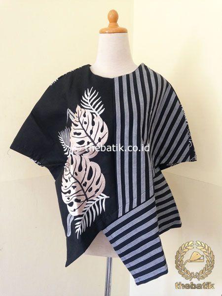 Jual Model Baju Batik Kerja Wanita Blus Lurik Modern Hitam Baju