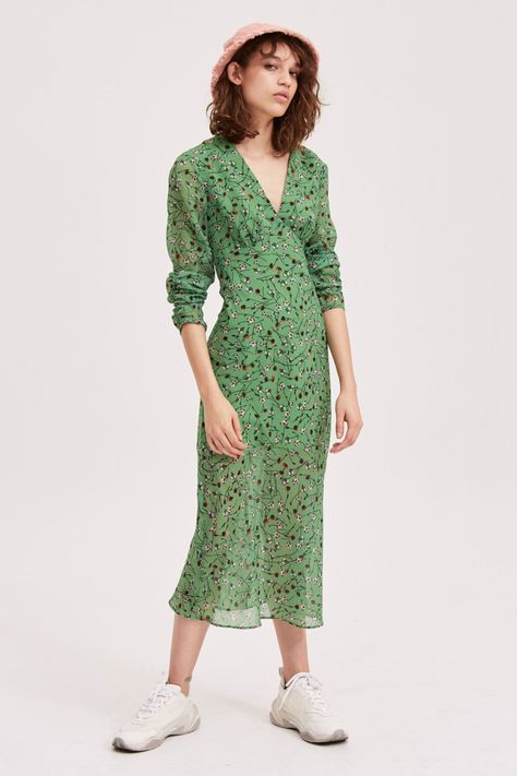 THE FIFTH LABEL MEDLEY LS MIDI DRESS LIME FLORAL   Long