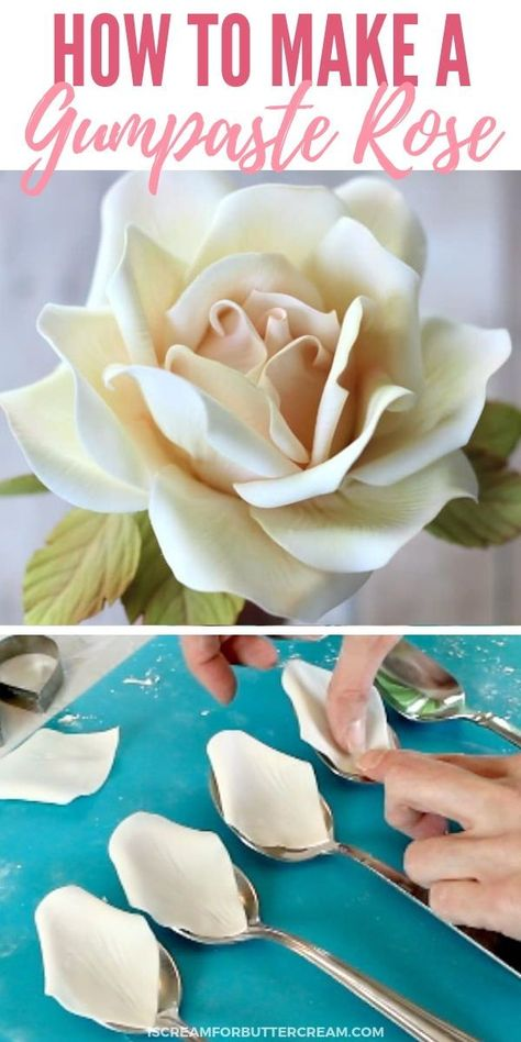 A detailed guide to making the perfect big sugar rose., A detailed guide to making the perfect big sugar rose. A step-by-step pro . - fondant tutorials - # detailed # of Rose En Fondant, Fondant Flowers, Clay Flowers, Paper Flowers, Icing Flowers, Crepe Paper Roses, Cake Decorating Techniques, Cake Decorating Tutorials, Cookie Decorating