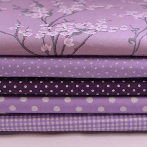 Lilac Fat Quarter Bundle  100% Cotton by LoveFabricIreland on Etsy