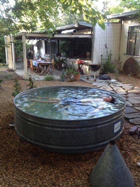 Whirlpool im Gartens selber bauen Badetonne im Boden Timeline Pins