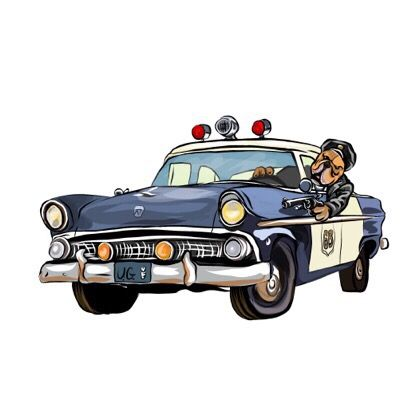 Police Vehicle Clipart Dog In Car Funny Dog Png Old Police Car Png Car Sublimation Dog Cartoon Cartoon Dog Old Police Cars Cartoons Png