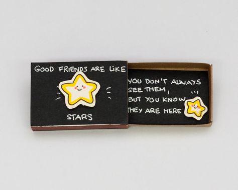Cute Friendship Card Matchbox/ Gift box/ Good Friends by 3XUdesign