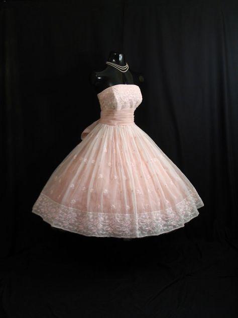 Vintage 1950s STRAPLESS Will Steinman Pink Embroidered CHIFFON Organza Prom Dress