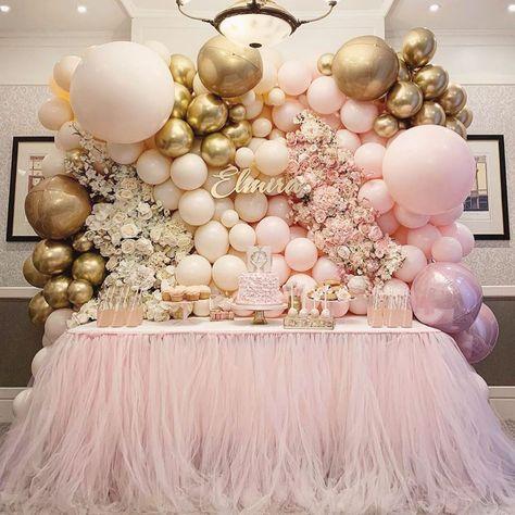 Photo by Stunning Baby Shower Inspo 😍🎉 on January via Ballerina Party Decorations, Girl Birthday Decorations, Wedding Balloon Decorations, Girl Birthday Themes, Girl Baby Shower Decorations, Wedding Balloons, Birthday Parties, Balloon Wall, Balloon Garland