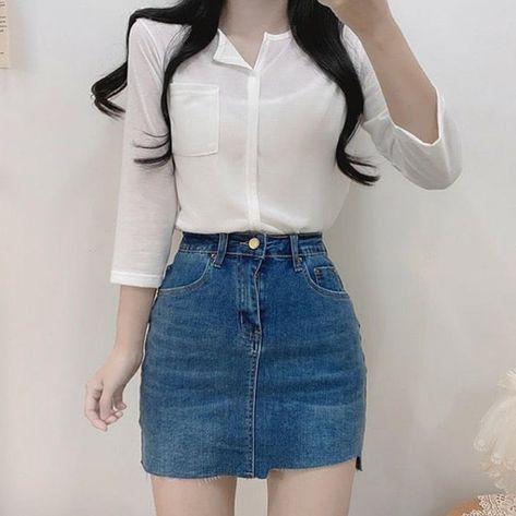Girly trendy wear aesthetic stylish spring 2021 gentle korea fashion instagram college