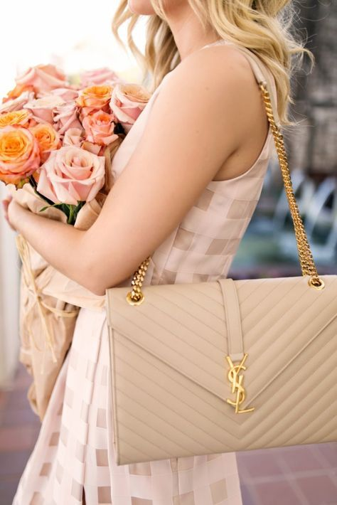 gingham dress, YSL nude handbag Source by laurenmdix aesthetic