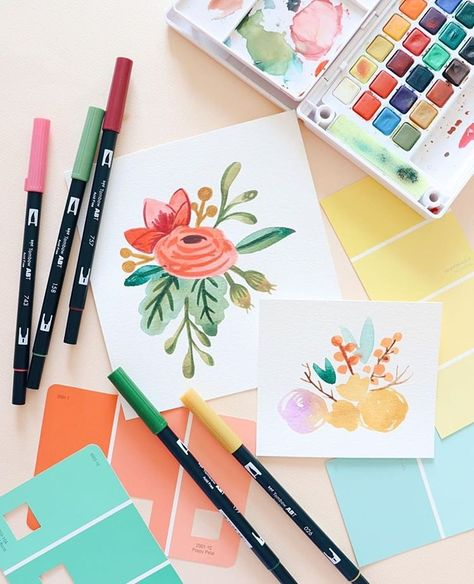 Obsessed With These Dual Brush Pen Florals Drawn By Bonbiforest