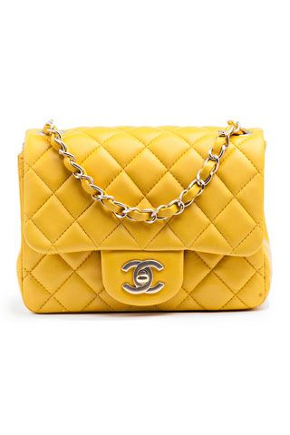 Chanel Yellow Classic Square Mini Flap Bag